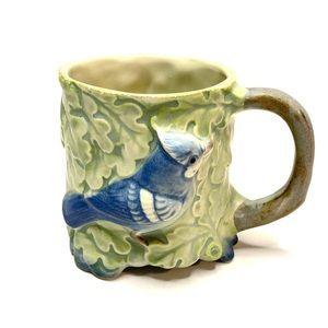 Takahashi 1950's Hand Painted Ceramic Blue Jay Mug